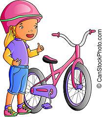 cute, pequeno, bicicleta, menina, caricatura