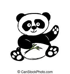 cute, pequeno, branca, isolado, panda