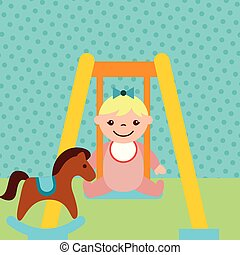 cute, pequeno, brinquedos, cavalo, balanço, menina, balanço