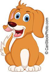 cute, pequeno, cão, caricatura, expressão
