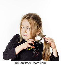 cute, pequeno, cabeleireiras, próprio, scissors., menina