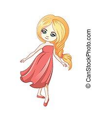 cute, pequeno, caricatura, menina