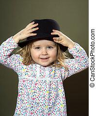 cute, pequeno, chapéu, menina, tocando