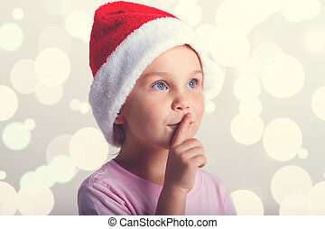 cute, pequeno, claus, santa, menina, chapéu