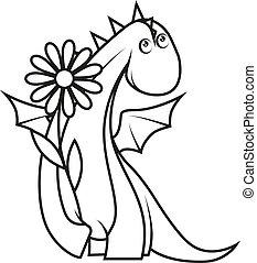 cute, pequeno, coloração, dragão, flor, segurando, book: