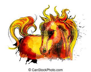 cute, pequeno, coloridos, cavalo, pintura aquarela