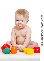 cute, pequeno, cor, sobre, isolado, brinquedos, bebê, branca, tocando
