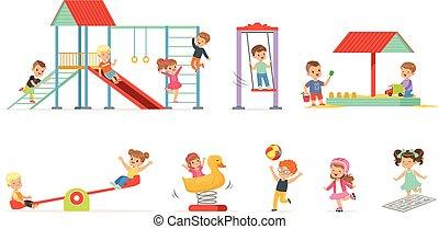 cute, pequeno, crianças, jogo, crianças, divertimento, vetorial, pátio recreio, ao ar livre, ilustrações, caricatura, tocando, tendo