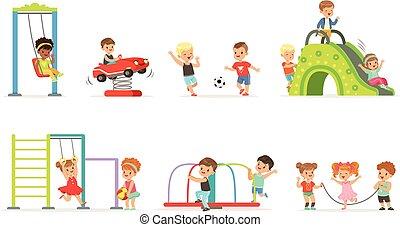 cute, pequeno, crianças, jogo, tocando, divertimento, vetorial, pátio recreio, ilustrações, caricatura, tendo
