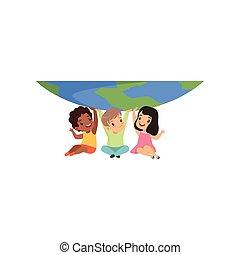 cute, pequeno, crianças, segurando, sentando, globo, multicultural, aquilo, ilustração, vetorial, fundo, sob, branca