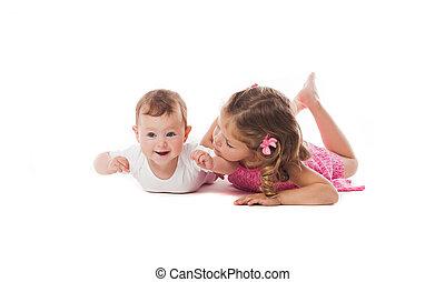 cute, pequeno, dela, irmã, irmão, recem nascido, menina, ou