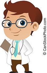 cute, pequeno, doutor masculino