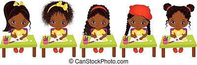cute, pequeno, drawing., artistas, meninas, americano, vetorial, africano