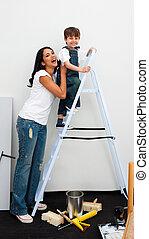cute, pequeno, escada, escalando, menino