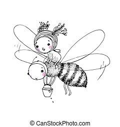 cute, pequeno, fada, abelha
