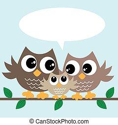 cute, pequeno, família, coruja