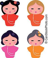 cute, pequeno, geisha, jogo, isolado, branco