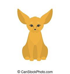 cute, pequeno, grande, raposa, fennec, orelhas
