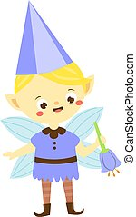 cute, pequeno, jardim flor, menino, bluebell., duende, pixie