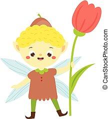 cute, pequeno, jardim, flower., menino, duende, pixie, tulipa