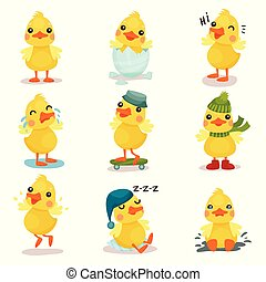 cute, pequeno, jogo, situações, duckling, diferente, amarela, vetorial, caráteres, pato, ilustrações, pintinho, poses, caricatura