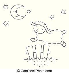 cute, pequeno, kawaii, estilo, mime ovelha, pular, cerca piquete, cena noite, com, lua, esboço, vetorial, ilustração, isolado, branco