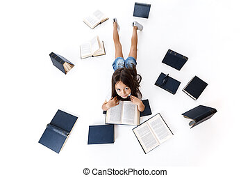 cute, pequeno, leitura, menina, book.