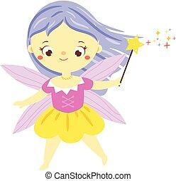 cute, pequeno, magia, jardim, wand., pixie, fada, duende