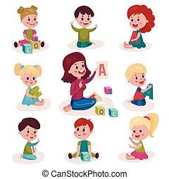 cute, pequeno, meninos meninas, aprendizagem, letras, com, seu, professor, jogo, crianças, aprendizagem, através, divertimento, e, jogo, coloridos, caricatura, vetorial, ilustrações