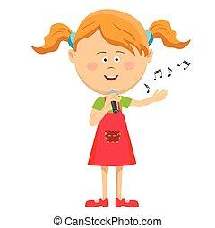 cute, pequeno, microfone, isolado, fundo, menina, cantando, branca