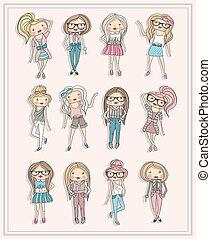 cute, pequeno, moda, meninas