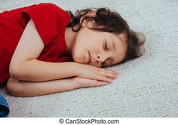 cute, pequeno, ou, menino, levando, dormir, sesta, caucasiano