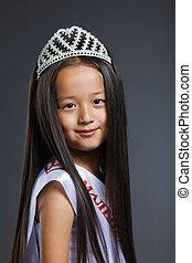 cute, pequeno, retrato, precioso, tiara, menina