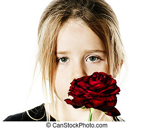 cute, pequeno, rosa, retrato, menina, vermelho
