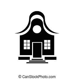 cute, pequeno, simples, casa, estilo, ícone