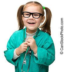 cute, pequeno, tocando, menina, doutor