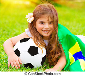 cute, pequeno, ventilador football