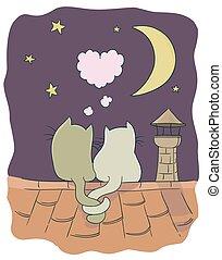 cute, pequeno, vetorial, bolha, dado forma, lua, dois, telhado, chimney., coração, tema, estrelas, ilustração, gatos, caricatura, romance