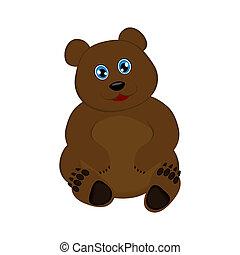 cute, pequeno, vetorial, urso marrom