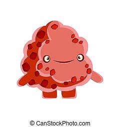 cute, personagem, amigável, emoções, elemento, sorrir., vetorial, ilustração, rocha, caricatura