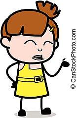 cute, personagem, -, ilustração, mão, falando, enquanto, ...