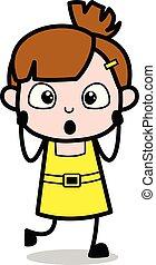 cute, personagem, -, ilustração, preocupado, vetorial, menina, caricatura