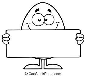 cute, personagem, sinal, pretas, segurando, em branco, ovo branco, caricatura, mascote