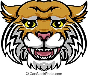 cute, personagem, wildcat, feliz, caricatura, mascote