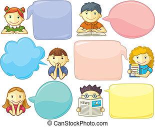 cute, personages, com, fala, bolhas