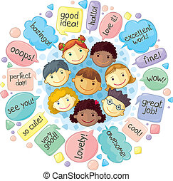 Cartoon people gathering for communication, community and others. Various phrases in speech balloons. Handwritten text.