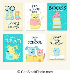 Cute pet animals reading books vector card set