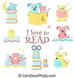Cute pet animals reading books vector icon set
