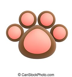 cute pet paw isolated on white background