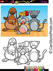 cute pets cartoon coloring book